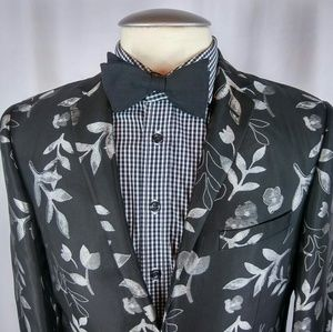 Moods Of Norway Cocktail Blazer 40R Floral Blk/Sil